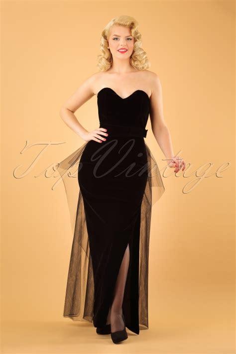 Doris Maxi 50s doris velvet maxi dress in black