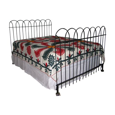 Antique Hairpin Wrought Iron Fence Queen Bed Frame