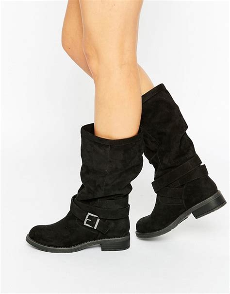 Strapped Turn Up Slouch Boots From Asoscom asos asos caitlin slouch biker boots
