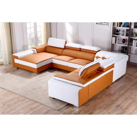 divani casa t366 modern orange white leather sectional sofa