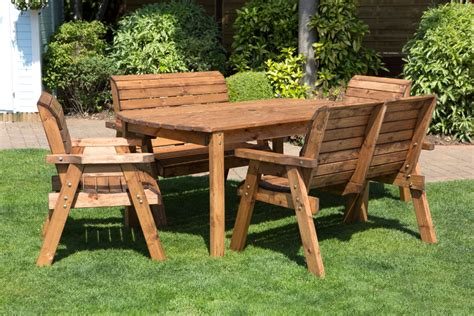 wooden garden table and bench set six seater outdoor table set with benches natural