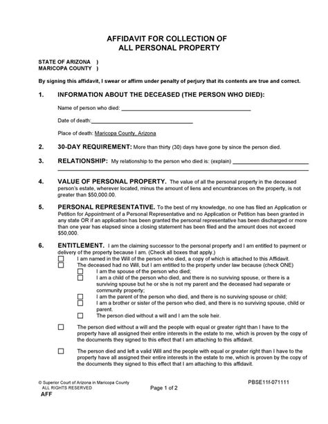 Arizona Probate Court Records Free Maricopa County Arizona Small Estate Affidavit Form