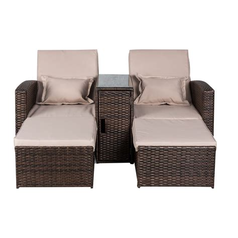 outsunny 3 outdoor rattan wicker chaise lounge furniture set outsunny 2 person outdoor patio rattan wicker cushioned