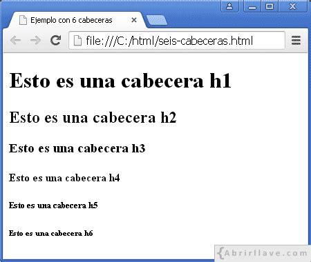 cabecera xsd ejemplo con 6 cabeceras en html tutorial de html