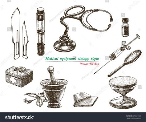 vintage style medicine medical equipment vintage style stock vector 579827308