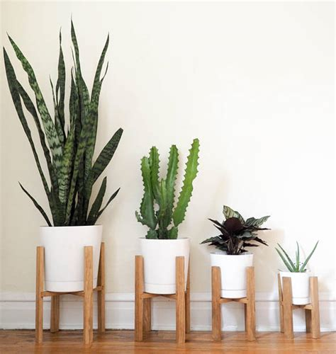 indoor flower pot stands wooden
