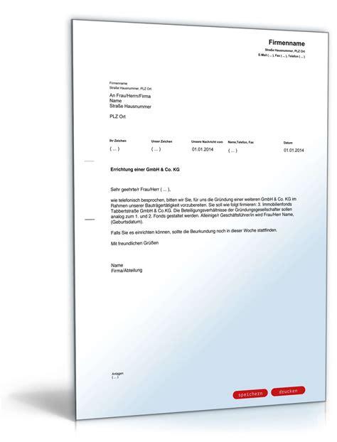 Musterbrief Bearbeitungsgebühr Kredit Nrw Musterbrief An Notar Wegen Gesellschaftsgr 252 Ndung Vorlage Zum
