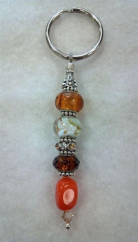 keychain design maker beaded keychain brown orange and white by caninekingdomok