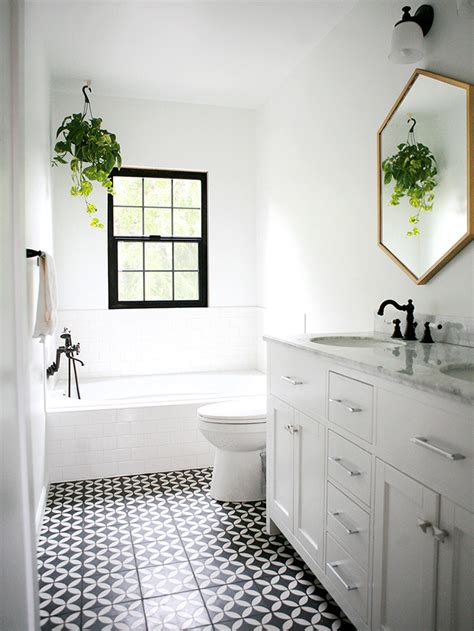 renovation blogs vintage black and white bathroom floor tile photo demo