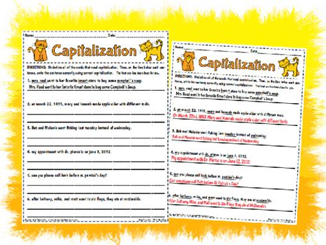 Capitalization Worksheets Pdf by Capitalization Worksheet Printable Worksheet With Answer