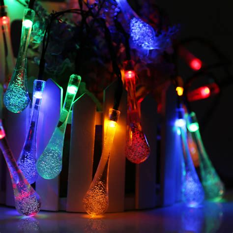 glow string lights 21ft 6 5m 30 led colorful glow waterdrop string lights