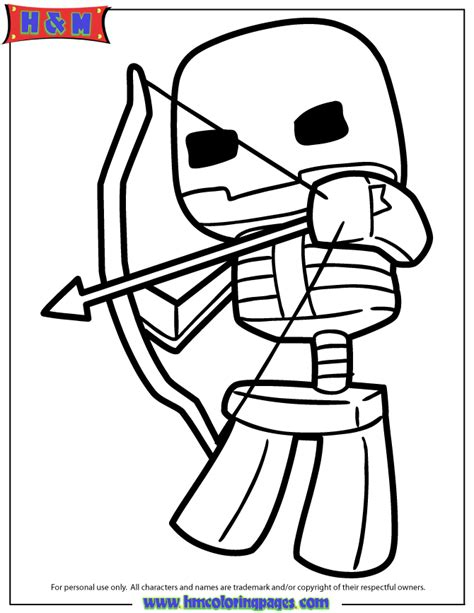 minecraft cartoon coloring pages minecraft skeleton shooting bow and arrow coloring page