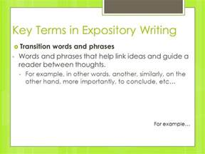 transition words for expository essays i think that i am going to write about i believe that ppt