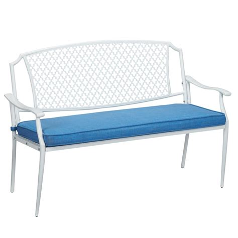 outdoor benches with cushions hton bay alveranda metal outdoor bench with periwinkle