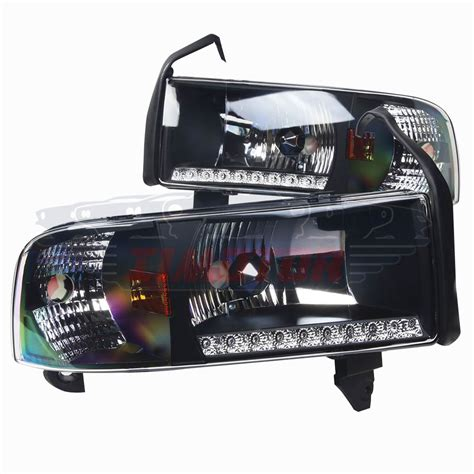 Lu Led Drl Motor headlights with led drl for 1994 2001 dodge ram 1500 2500