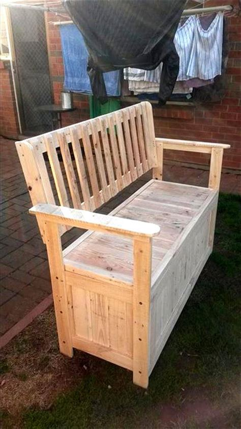 storage bench made from pallets diy wood pallet outdoor furniture ideas 101 pallet ideas