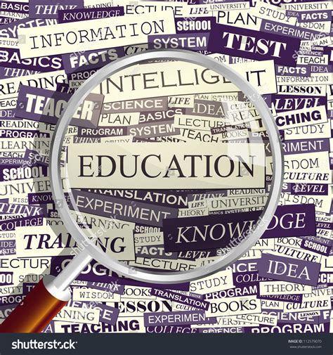 ed pattern words education magnifying glass and seamless background