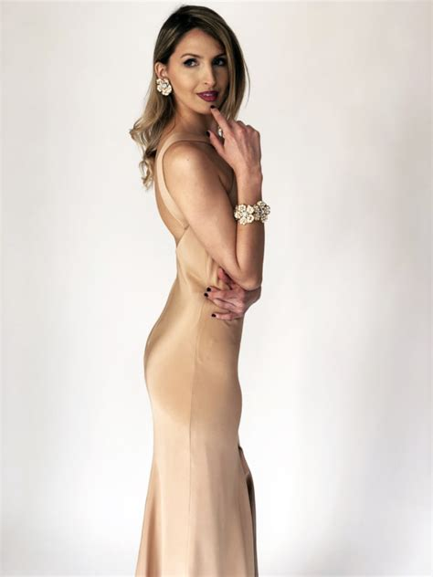 Mira Slit silk crepe gown with slit by mira couture