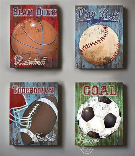 Vintage Sports Bedroom Decor by Wall Decor Sports Set Of 4 Canvas Sports Room Decor