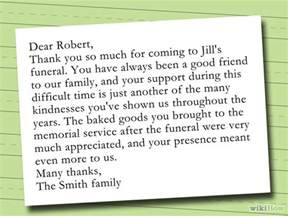 how to write a thank you note after a funeral with sle