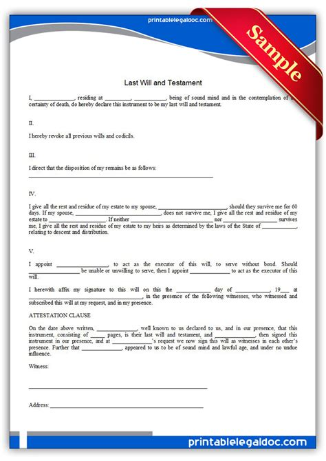 Free Printable Last Will And Testamant Simple Form Generic Last Will Templates Free Printable