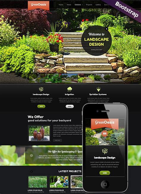landscape design bootstrap template id 300111706 from