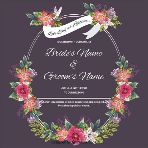 Wedding Card Free by Wedding Card With Floral Detail Vector Free