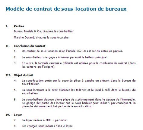 bail location bureau exemple bail commercial sous location document