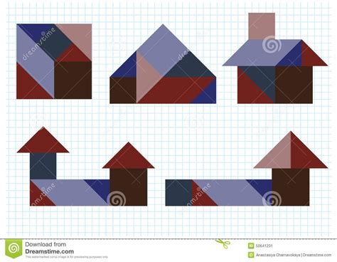 Home Building Plans Free tangram puzzle house stock vector image 50641231