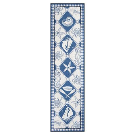 Nautical Runner Rug Nautical Runner Rug Nautical Panel Rug Runner Blue Ivory 2 X 8 Touch Of Class Nautical Carpet