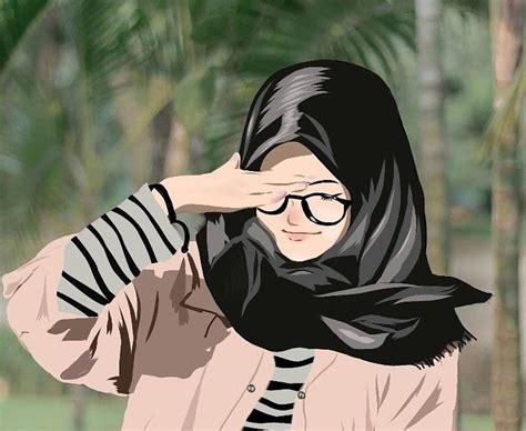 gambar keren anime hijab background wallpaper