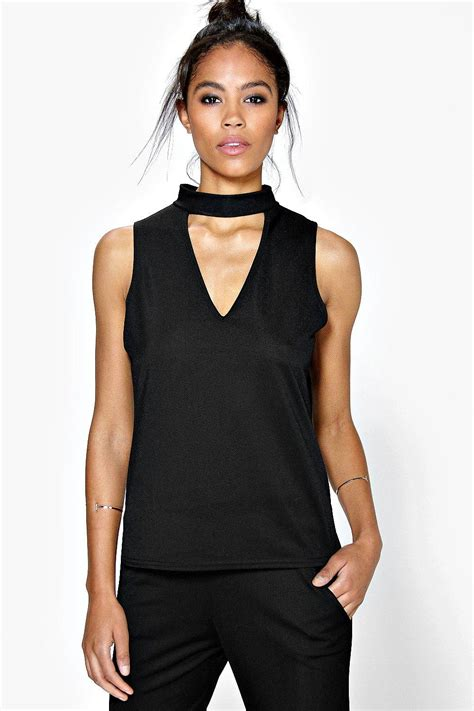 boohoo womens elisa cut out choker sleeveless top ebay
