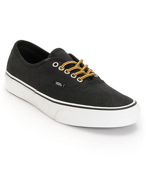 vans authentic black marsh waxed canvas skate shoes