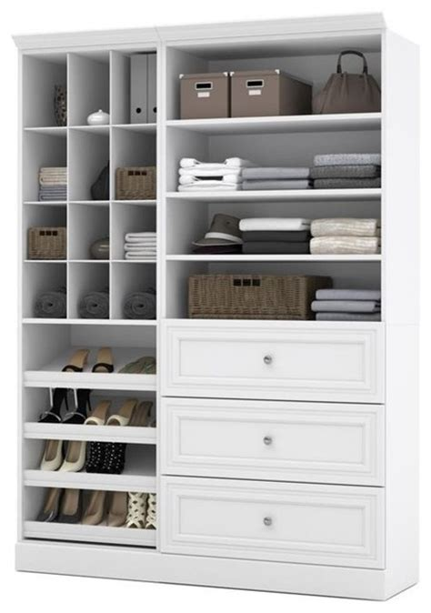 White Closet Organizer With Drawers by Bestar Versatile Ith Wide Drawers White Transitional