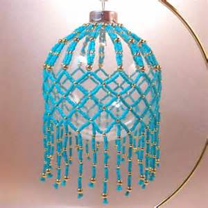 Turquoise and gold beaded ornament cover handmade je191e
