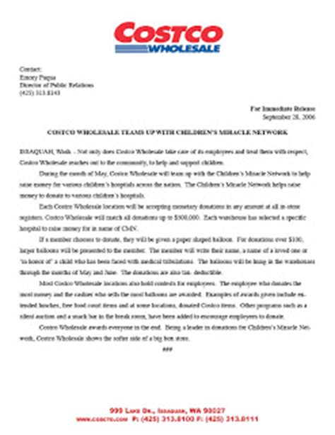Press Release Letterhead Emory K Fuqua S Sle Work Press Release Costco Class Project