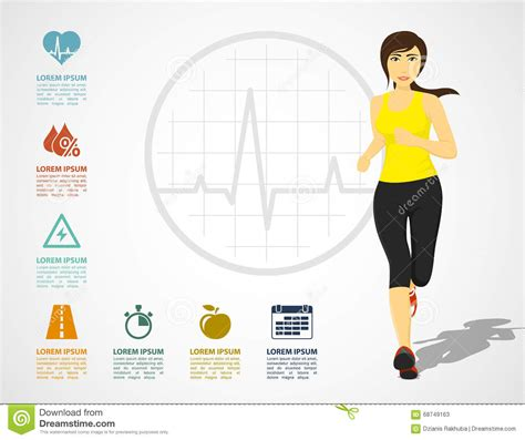Running Woman Infographic Stock Vector Illustration Of Motion 68749163 Fitness Infographic Template