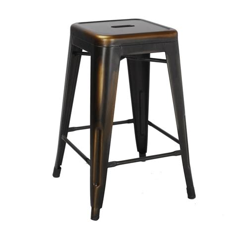 24 Inch Metal Counter Stools by Adeco Antique Copper 24 Inch Metal Counter Bar Stools Set