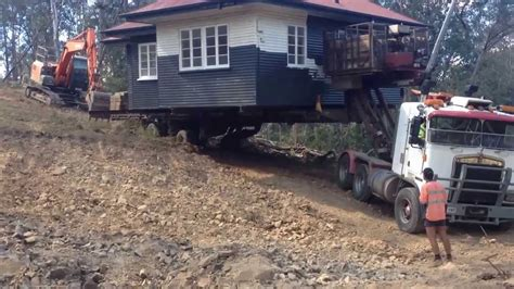 trailer house movers house move down steep hill youtube