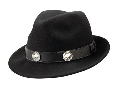 Harley Davidson Hats For Sale by Harley Davidson Fedora Hats Black Wool Skull Emblem Band