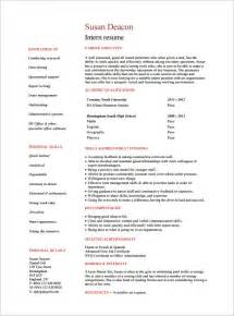 Resume Templates For College Students For Internships by Internship Resume Template 11 Free Sles Exles