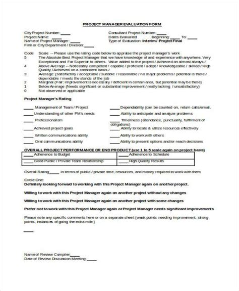 project evaluation form sle manager evaluation forms 10 free documents in
