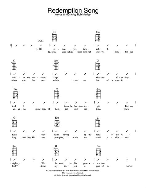 ukulele tutorial redemption song redemption song sheet music by bob marley ukulele with