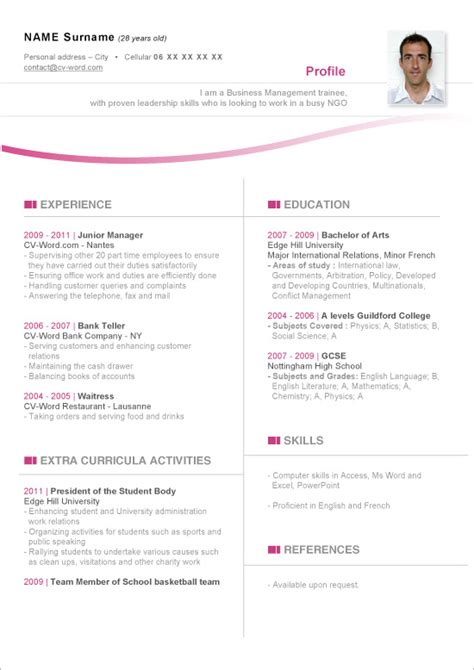 templates de cv word visuel modele cv word