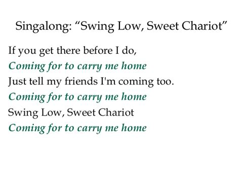 swing low sweet chariot coming for to carry me home lecture 11iii increasing conflicts over slavery