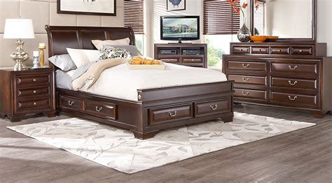 queen bedroom mill valley ii cherry 5 pc queen sleigh bedroom w storage