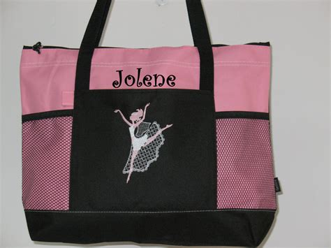personalized dance bag tote bag ballet bag  kozykidzboutique