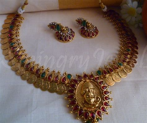 traditional antique kasu mala set designs necklace in