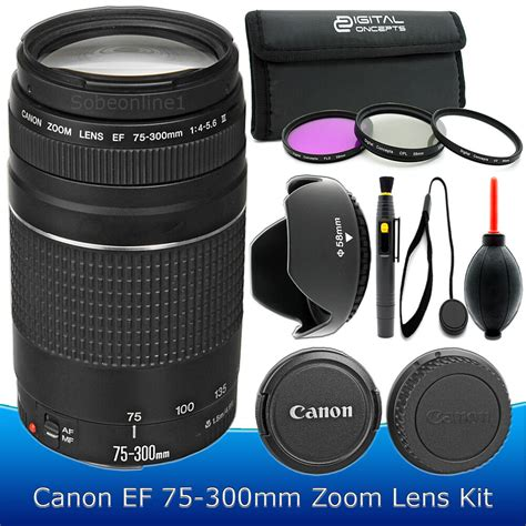 Canon Lensa Ef 75 300mm F4 5 6 canon ef 75 300mm f 4 5 6 iii telephoto zoom lens kit for