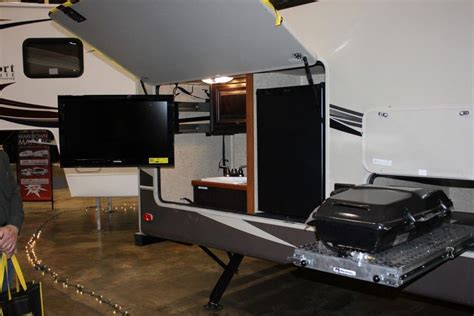 swing out tv mount outstanding rv travel trailers with outside kitchen and